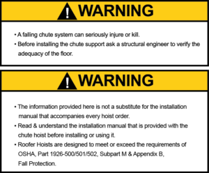 Roofer Hoist Warnings